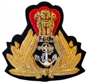 Officer's badge embroidered Navy India