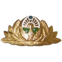 An officer's cap badge of the Armed Forces of Uzbekistan. 2004