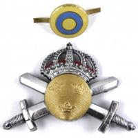 Sweden Army Officers White Metal Cap Badge